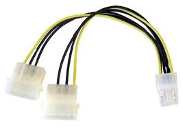 PCIe Power to 2x Molex Cable (Square Pin 5)
